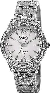 Burgi Women's Diamond & Crystal Accented Watch - 10 Genuine Diamond Hour Markers Mother-of-Pearl Dial On Embossed Bracelet Watch - BUR127