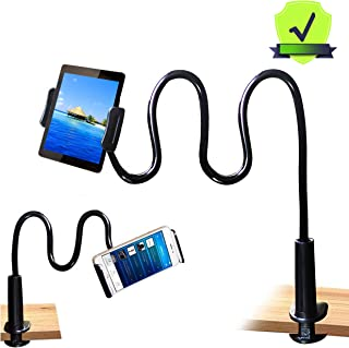 MAGIPEA Tablet Stand Holder, Mount Holder Clip with Grip Flexible Long Arm Gooseneck Compatible with ipad iPhone/Nintendo Switch/Samsung Galaxy Tabs/Amazon Kindle Fire HD - Black
