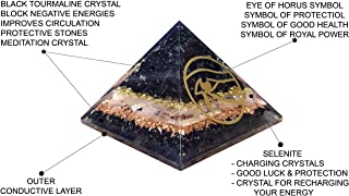 New Energy Generator Orgone Pyramid | Black Tourmaline Orgonite Pyramid For EMF Protection | Selenite For Charging Crystal With Eye Of Horus Symbol For Goodluck & Protection By Orgonite Shop