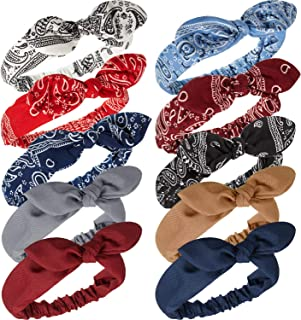 10 Pieces Bandana Knot Headbands Paisley Bow Boho Bandana Headwrap Solid Colors Headbands Rabbit Ear Hairband Elastic Turban Hair Band for Women Girls