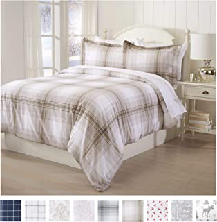 Great Bay Home Extra Soft Printed Flannel Duvet Cover with Button Closure. 100% Turkish Cotton 2-Piece Set with Pillow Shams. Belle Collection (Twin, Plaid - Taupe)