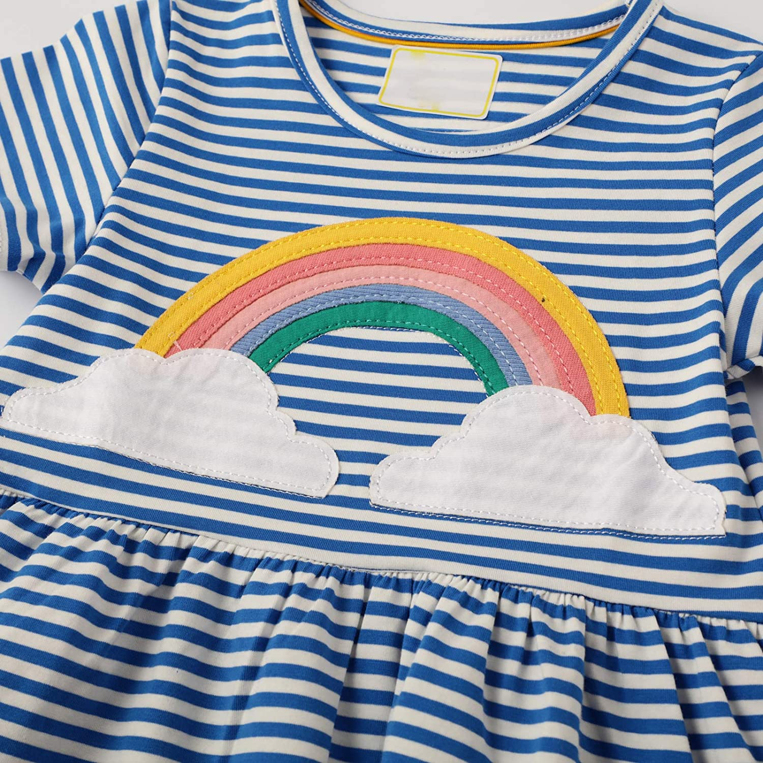 Youlebao Girls Cotton Long Sleeve Casual Cartoon Appliques Striped Jersey Dresses: Clothing