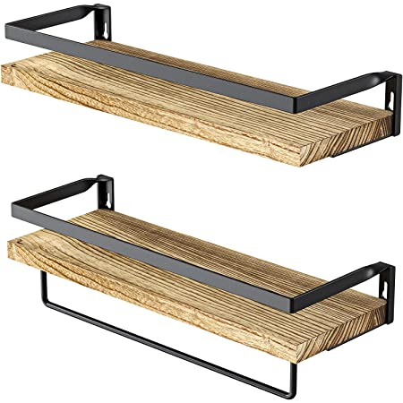 Amada Rustic Floating Shelves Wall Mounted, Solid Paulownia Wood Set of 2 for Kitchen, Bathroom, and Bedroom, Decorative Storage Shelf with Removable Towel Holder, Strong Black Metal Frame-AMFS01