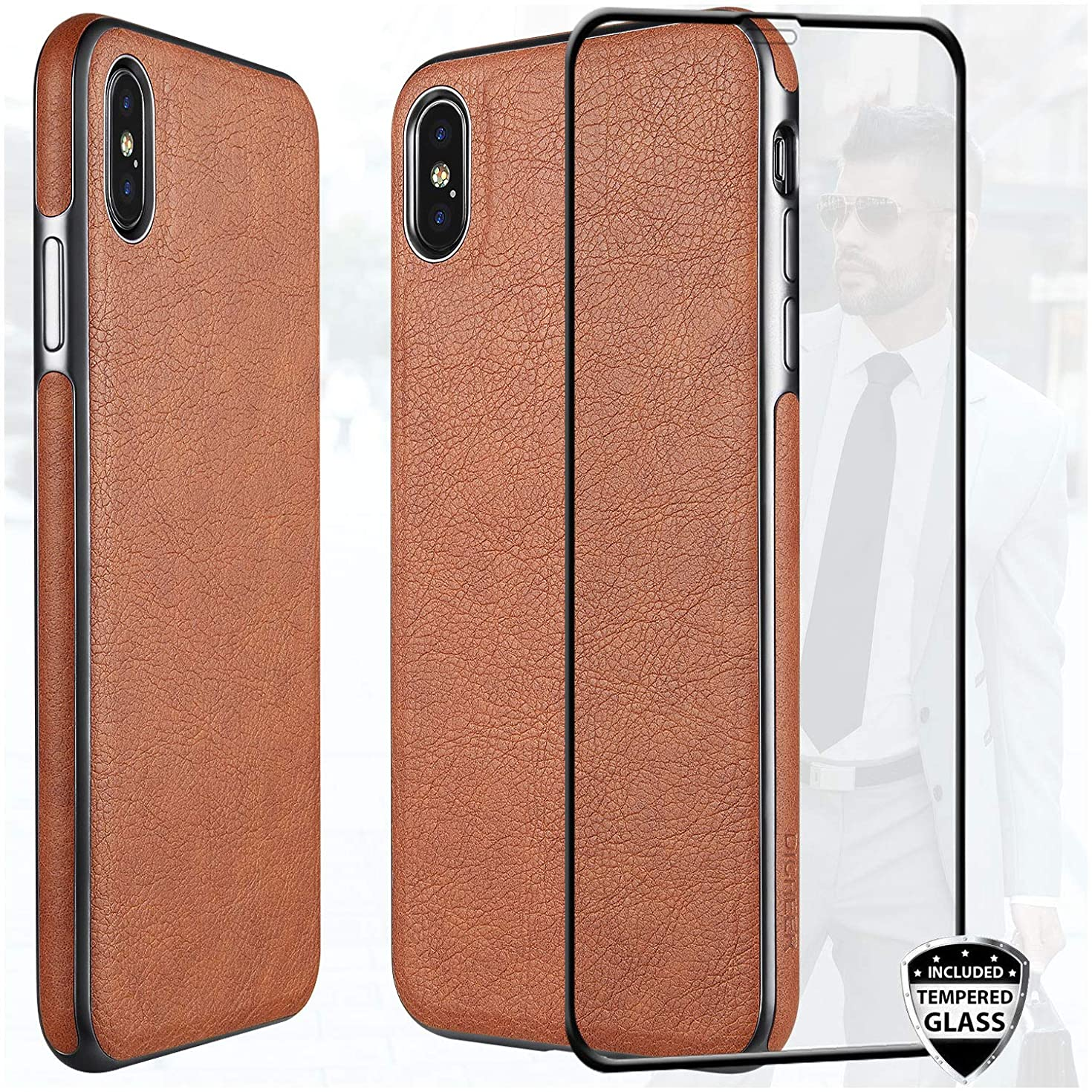 iPhone Xs Max Case with Glass Screen Protector,DICHEER Luxury Matte Brown Leather Case for Men,Dual Layer Hybrid Defender Soft TPU Bumper Best Protective Cover Classy Phone Case for iPhone XS Max 6.5