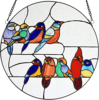Bieye W10051 Tropical Birds on The Wire Tiffany Style Stained Glass Window Panel with Chain, Round Shape, 16-inch Wide