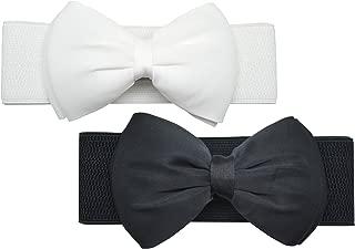 Meta-U Women Cute Bow/Flower Wide Elastic Waist Belt - Adorable Dress Accessory