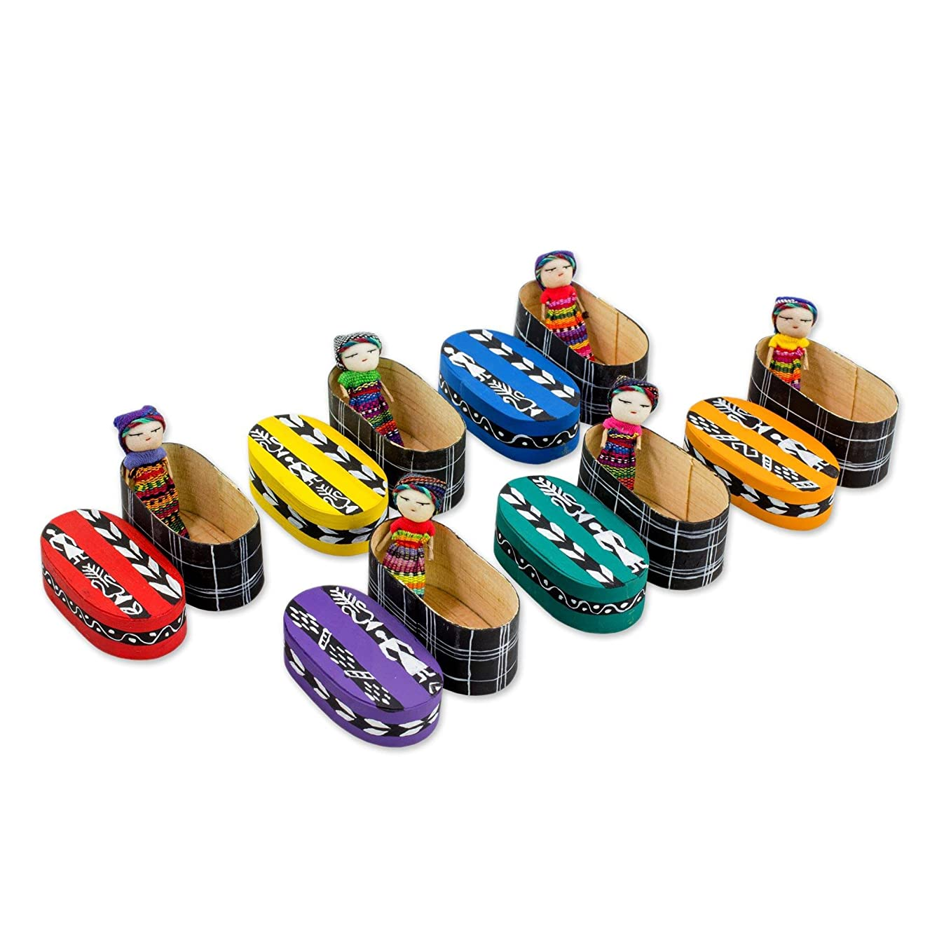 NOVICA Traditional Handmade Worry Dolls from Guatemala with Individual Painted Wood Storage Boxes, 2.5 inch, Country Beauties' (Set of 6)