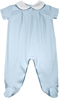 Dakomoda Baby Boys' 100% Organic Pima Cotton Footie, Short Sleeve Blue Easter Overall, Christening Outfit