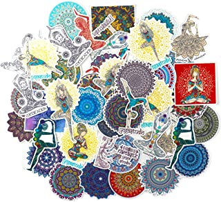 Yoga Girl and Colorful Mandala Flowers Stickers (50 PCS) - Cute, Small, Beautiful, Waterproof and Durable/Delicate Decals ...