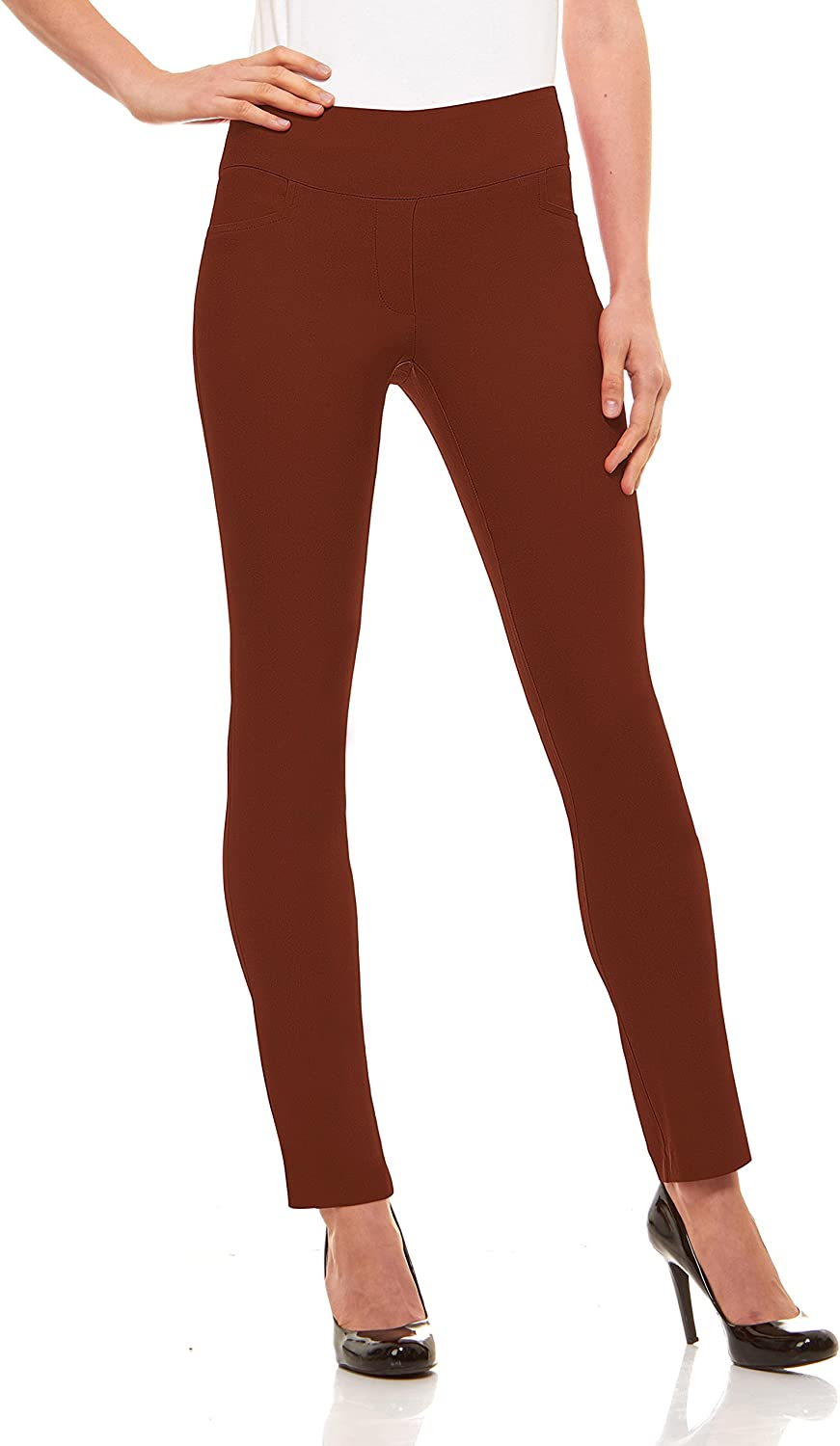 Velucci Womens Straight Leg Dress Pants  Stretch Slim Fit Pull On Style