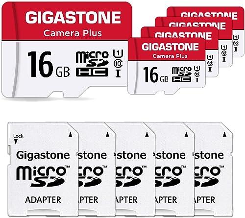 Gigastone Carte Mémoire 16 Go Lot de 5 Cartes, Caméra Plus Série, Vitesse allant jusqu'à 85 Mo/s. idéal pour Full HD ...