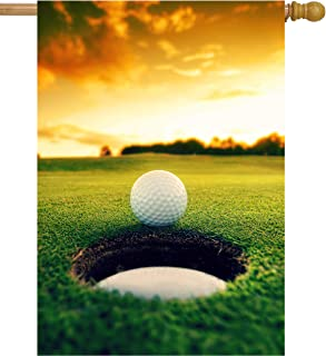 "ShineSnow Golf Ball Grass Sunset Autmun Sports Athletic House Flag 28"" x 40"" Double Sided Polyester Welcome Yard Garden Fl..."