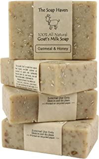 Oatmeal Soap - 4 Oatmeal & Honey, Goat Milk Soap Bars. All Natural, Unscented Soap - Wonderful for Eczema, Psoriasis, sens...