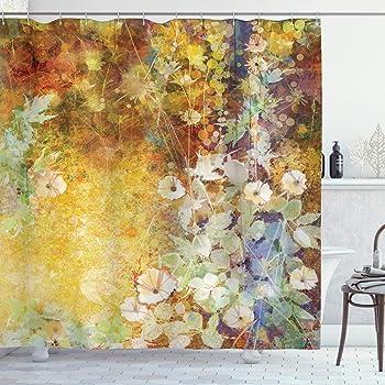 "Ambesonne Autumn Shower Curtain, Composition of Fall Season Foliage with Earthy Colors Romantic Nostalgic Design, Cloth Fabric Bathroom Decor Set with Hooks, 70"" Long, Multicolor"