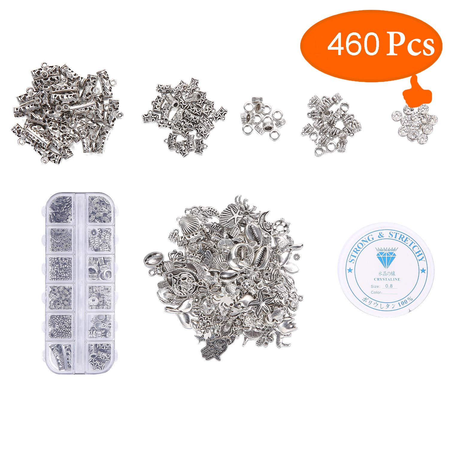 460 Spacer Beads and Metal Charms YUGDRUZY Bulk Metal Charms Mixed Pendant Charms Spacers for Jewelry Making Charms for Bracelets Necklaces Earrings Silver Charms Bulk for Jewelry Maker Women Girls
