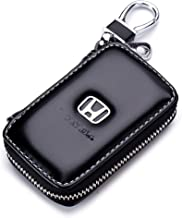 QZS Black Leather Car Key Case Coin Holder Zipper Remote Wallet Key Chain Bag (Honda)