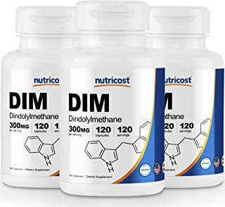 Nutricost DIM (Diindolylmethane) 300mg, 120 Capsules with BioPerine (3 Bottles)