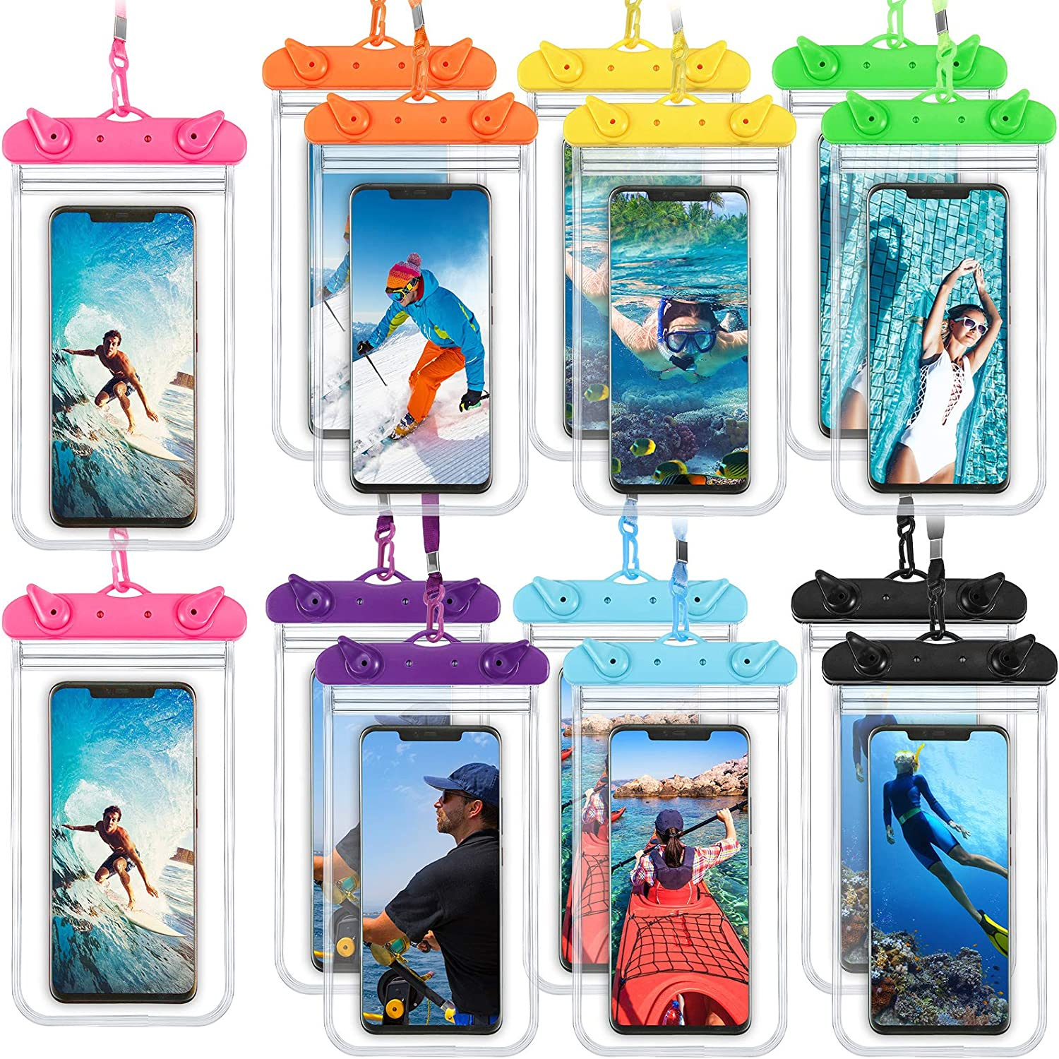 14 Pieces Waterproof Phone Pouch Universal Underwater Case Clear Cellphone Dry Bag with Lanyard Outdoor Beach Swimming Snorkeling Bag for Smartphone up to 6.9 Inch, 7 Colors