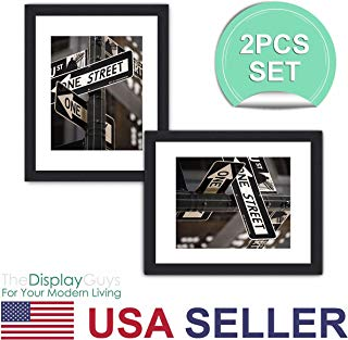 """The Display Guys ~ 2 sets of 16x20 inches Black Wooden Photo Frame, Tempered Glass, Luxury Made Affordable, with 1pc White Mat Board for 11""""x14"""" Picture"""