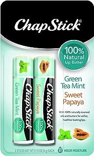 ChapStick 100% Natural Lip Butter Tube, Flavored Lip Balm, 0.15 Ounce Each (Green Tea Mint & Sweet Papaya Flavors, 1 Blister Pack of 2 Sticks)