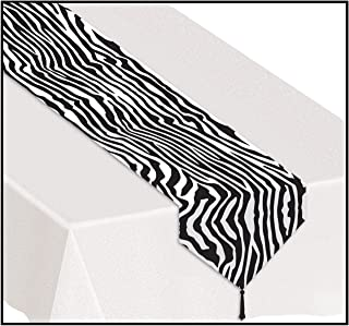 3 X Printed Zebra Print Table Runner Party Accessory (1 count) (1/Pkg)