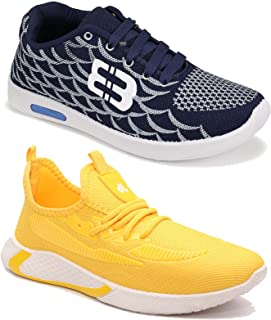 Camfoot Men's (9369-9284) Multicolor Casual Sports Running Shoes (Set of 2 Pair)