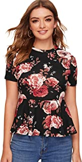 SheIn Women's Casual Floral Print Short Sleeve Babydoll Ruffle Peplum Blouse Tops