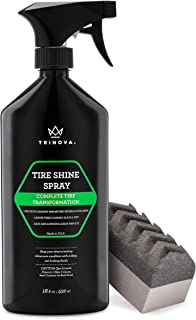 TriNova Tire Shine Spray No Wipe - Automotive Clear Coat Dressing for Wet & Slick Finish - Keeps Tires Black - with Rubber...
