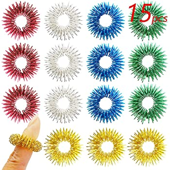 FRIMOONY Spiky Sensory Rings for Fingers Massage, Stress Relief, 15 Pieces, 5 Colors