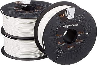 Amazon Basics filament do drukarki 3D z tworzywa sztucznego PLA, 1,75 mm, biały, szpula 1 kg, 3 szpule