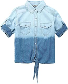 7a3880d124 Bienzoe Young Girl s Gradient Knotted Button Down Denim Short Sleeve Blouse