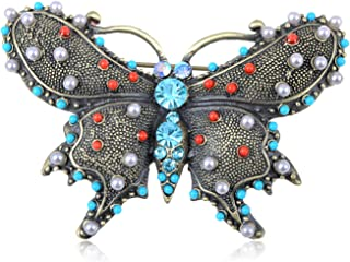 Alilang Womens Gunmetal Tone Faux Pearl Vintage Inspired Multicolored Beaded Butterfly Brooch Pin