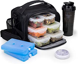 ThinkFit Insulated Meal Prep Lunch Box with 6 Food Portion Control Containers - BPA-Free, Reusable, Microwavable, Freezer Safe - With Shaker Cup, Pill Organizer, Shoulder Strap & Side Pocket (Black)