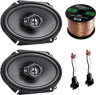 Car Speaker Combo of 2X Kenwood KFC-C6895PS 720-Watt 6x8 Inch 3-Way Stereo Coaxial Speaker Bundle with 2X Metra 72-5600 Speaker Connector for Select GM Vehicles + Enrock 50ft 16g Speaker Wire