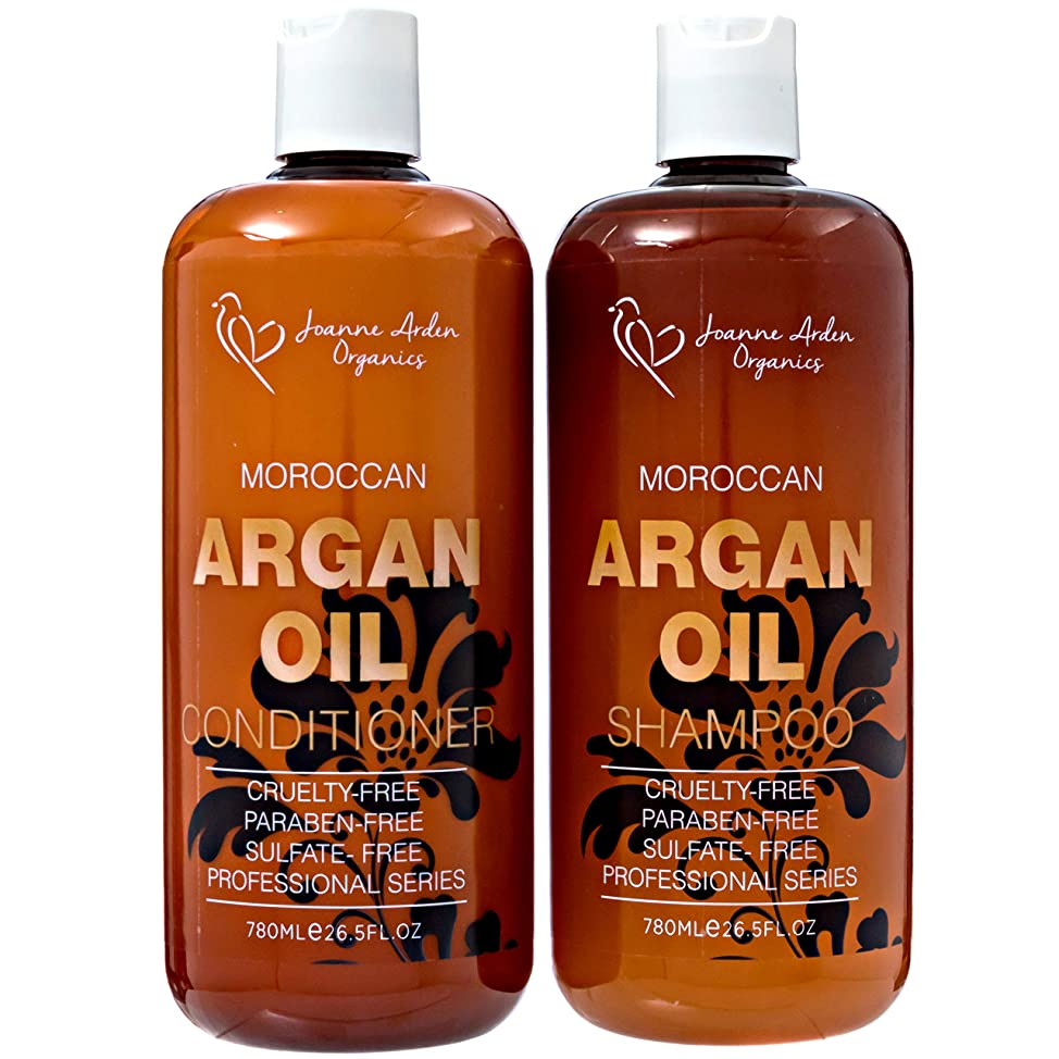 Argan Shampoo And Conditioner Sulfate Free- Joanne Arden Organic Argan Oil Shampoo Conditioner Set Natural Shampoo for Color Treated Hair.Moisturizing Shampoo for Women & Men Hair Loss Shampoo.26.5 oz