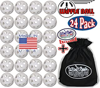 WIFFLE Plastic Practice Golf Balls 24 Pack with Exclusive Matty's Toy Stop Storage Bag