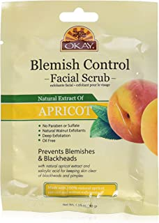 Okay Apricot Scrub For Blemish Control Deeply Exfoliates Skin with Salicylic Acid Sulfate, Paraben And Alcohol Free, 1.5 O...