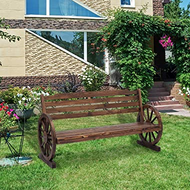 Kinsuite Outdoor Patio Wooden Wagon Wheel Garden Benches 2-Person Rustic Fir Wheel Seat Chair w/Slatted Seat and Backrest, Ou