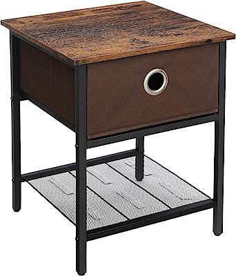 VASAGLE Basse, Table de Chevet avec tiroir en Tissu, Structure résistante en Acier, Salon, Chambre à Coucher, Assemblage Simple, Marron Vintage et Noir