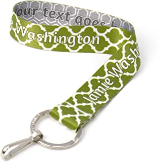 Buttonsmith Custom Wristlet Lanyard - Customize with Your Name - Short Length with Flat Ring and Clip - Made in The USA