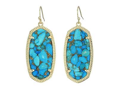 Kendra Scott Elle Earring (Gold/Bronze Veined Turquoise Magnesite) Earring