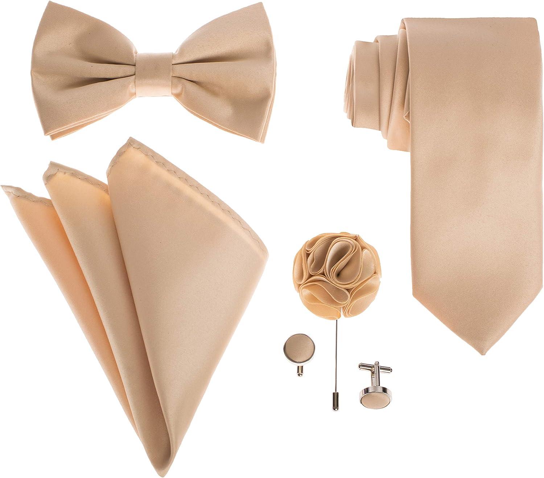 Men's Premium Neck tie Bow Tie Pocket Square Lapel Pin Cufflinks Gift Set For Suit & Tuxedo - Many Colors