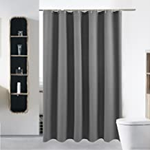 Stall Fabric Shower Curtain or Liner for Bathroom Washable Waterproof Cloth Polyester (Best Hotel Quality Friendly) with Curved Plastic Hooks Set - 54
