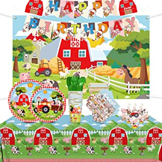Gatherfun Farm Animal Party Supplies Disposable Paper Plates Napkins Cups Knives Spoons Forks Tablecloth Backdrop Banner C...
