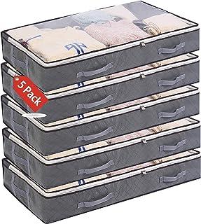 5 Pack Bolsas de Almacenamiento Debajo de la Rama Bolsa de Ropa Plegable de 75 l Recipientes de Almacenamiento de Gran Cap...