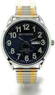 Mens Water Resistant Miykon Watch Day/Date Stretch Elastic Band Fashion Watch