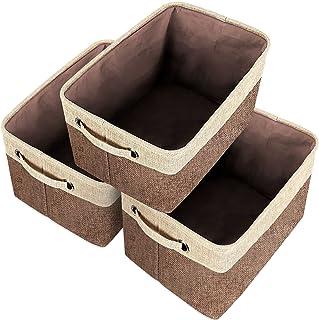Lot de 3 Paniers de Rangement Pliable en Tissu, Boîte de Rangement Cube en Jute avec Poignée de Transport en Coton, Pour V...