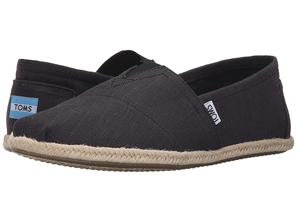 TOMS Rope Sole Classics (Washed Black Linen Rope Sole) Men