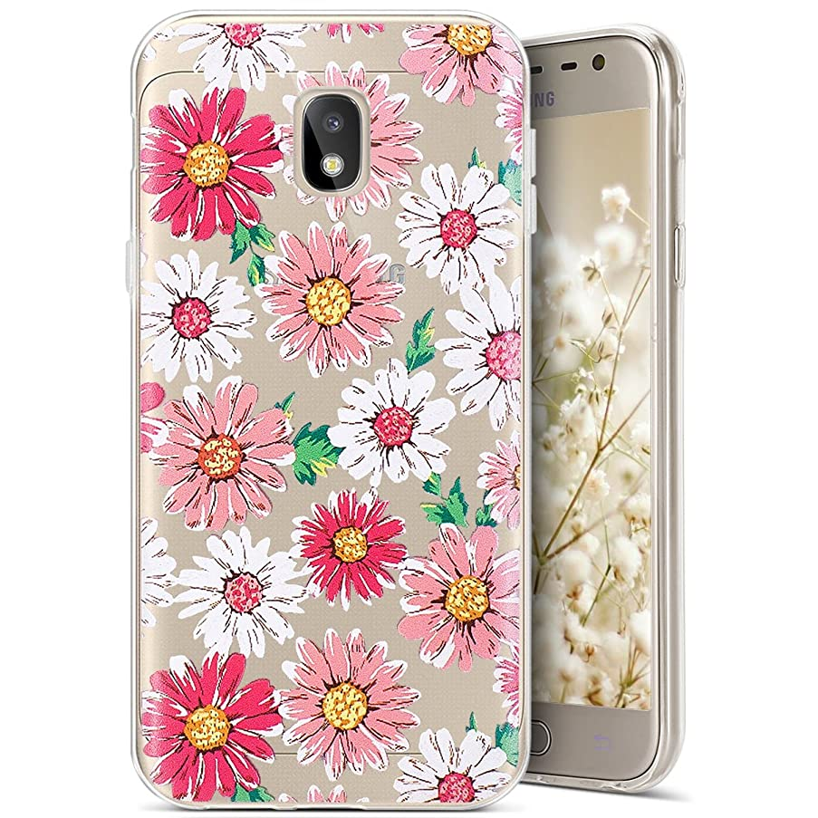 PHEZEN Galaxy J5 Pro 2017 Case, Amusing Whimsical Design Pattern Ultra-Thin Crystal Clear Soft Flexible TPU Bumper Slim Cover Case for Samsung Galaxy J5 Pro 2017 (Chrysanthemum)