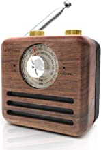 Retro Radio Bluetooth Speaker-Natural Walnut Wood FM/WB Radio with Wireless Bluetooth Speaker, Rechargeable Battery, Loud Volume for Travel, Home, Office
